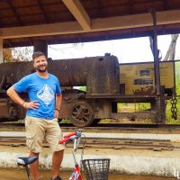 Silviu in front of a train that was never used...