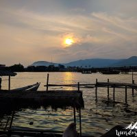 Sunset from the pier of Kampot