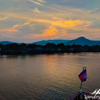 Sunset in Kampot, live from the boat.