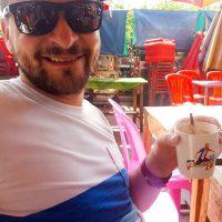 Enjoying a delicious cappuccino at the market