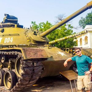 Silviu casually chilling on a tank