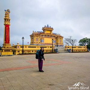 Perine in Hue city with her backpack
