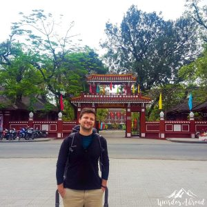 Silviu in Hue city with his backpack