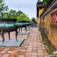 The nine dynastic urns are named in accordance to the posthumous title of Nguyen emperors