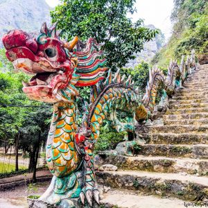 Dragon made out of concrete in Tam Coc, Vietnam