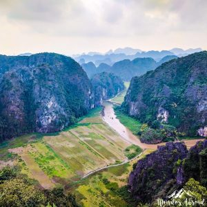 Panoramic view of rice fields from Tam Coc