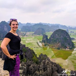 Perine has a view over Ninh Binh and the rice fields