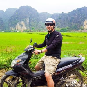 Riding in the rice fields