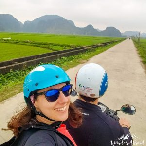 Selfie riding in the rice fields