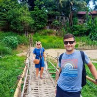 On the bamboo bridge