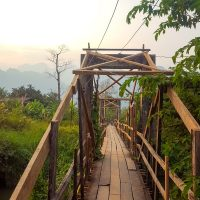 One of the many little bridges around Vang Vieng