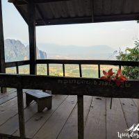 First stop, first viewpoint: Vang Vieng is in the back