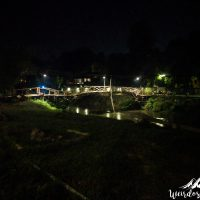 Bamboo bridge at night