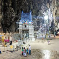 Hindu Temple inside the cave... new building being painted!