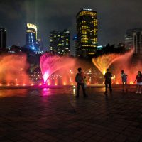 Light show in front of the Petronas Tower