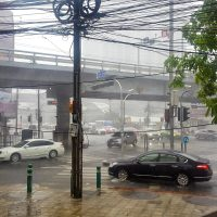 Unexpected storm at the exit of the subway!