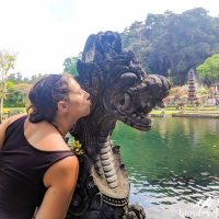 Kissing the dragon, brave girl.