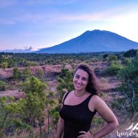 Perine posing in front of Mount Agung.