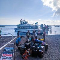 Loading the ferry boat to Gili Trawangan.