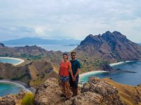 Family portrait from the top of Padar Island, Komodo National Park.