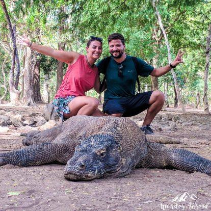 Posing with a 3m Komodo Dragon