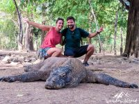 With the help of the rangers, we manage to get a good family photo. Komodo Island, Komodo National Park.
