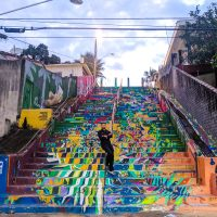 Cool dude on colorful stairs